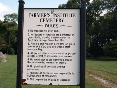 """Farmers Institute Cemetery"" - Notice of Rules and Regulations image. Click for full size."
