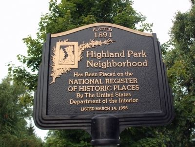 Highland Park Neighborhood Marker image. Click for full size.