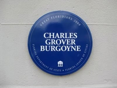 Great Floridians 2000 plaque: Charles Grover Burgoyne image. Click for full size.