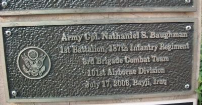 "Second Tier - Right Plaque - - "" Army Cpl. Nathaniel S. Baughman "" image. Click for full size."