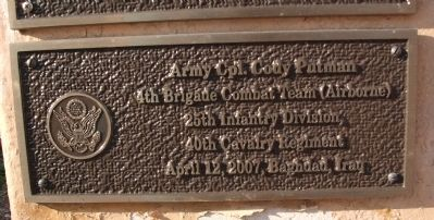 "Third Tier - Left Plaque - - "" Army Cpl. Cody Putman "" image. Click for full size."
