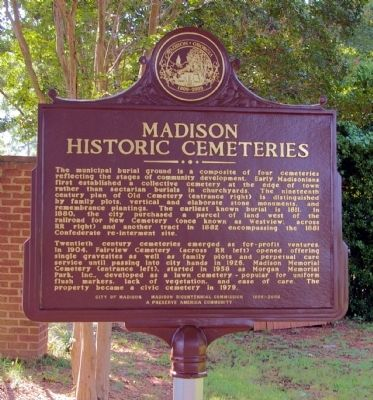 Madison Historic Cemeteries Marker image. Click for full size.