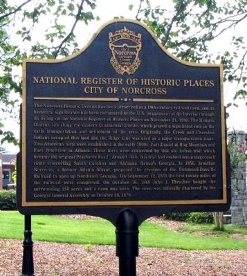 National Register of Historic Places – City of Norcross Marker image. Click for full size.
