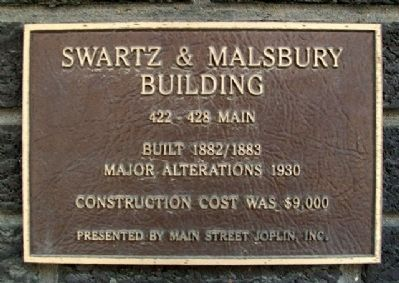 Swartz & Malsbury Building Marker image. Click for full size.