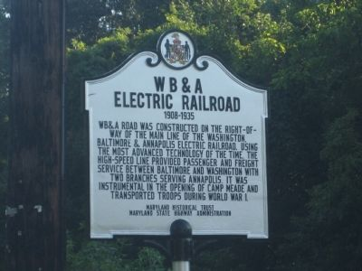 W B & A Electric Railroad Marker image. Click for full size.