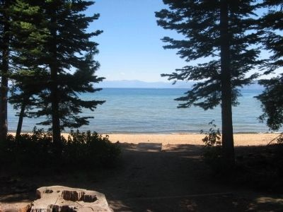 View of Lake Tahoe from in Front of The Log Cabin image. Click for full size.