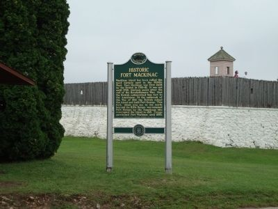 Northeast Corner of Historic Fort Mackinac with Marker image. Click for full size.