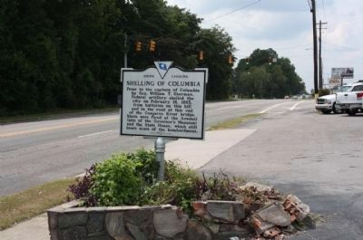 Shelling of Columbia Marker, looking west along Sunset Boulevard (U.S. 378) image. Click for full size.