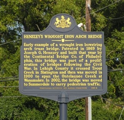 Henszey's Wrought Iron Arch Bridge Marker image. Click for full size.