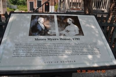 Moses Myers, House 1792 Marker image. Click for full size.