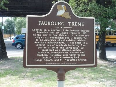 Faubourg Tremé Marker image. Click for full size.