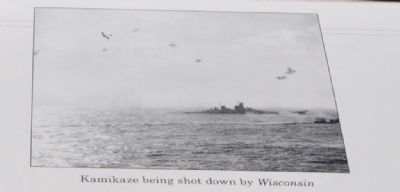 Kamikaze being shot down by Wisconsin image. Click for full size.