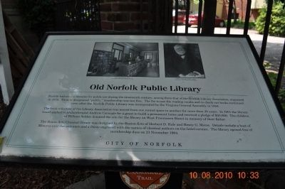 Old Norfolk Public Library Marker image. Click for full size.