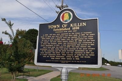 Town of Killen Marker (Side 2) image. Click for full size.