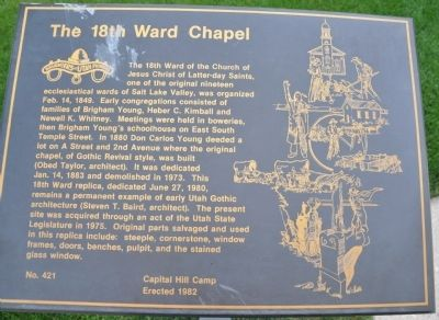 The 18th Ward Chapel Marker image. Click for full size.