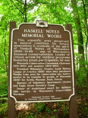 Haskell Noyes Memorial Woods Marker image. Click for full size.