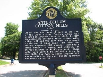 Ante~ Bellum Cotton Mills 1840 Marker image. Click for full size.