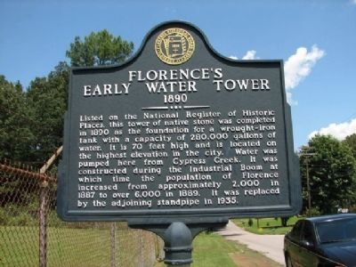 Florence's Early Water Tower 1890 Marker image. Click for full size.