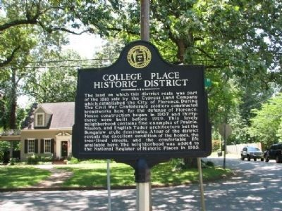 College Place Historic District Marker (located N. Lelia and Willingham Rd) image. Click for full size.