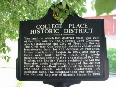 College Place Historic District Marker (located end Willingham Rd and N. Sherrod Avenue) image. Click for full size.