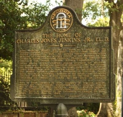 The Home of Charles Jones Jenkins, Jr., LL. D. Marker image. Click for full size.