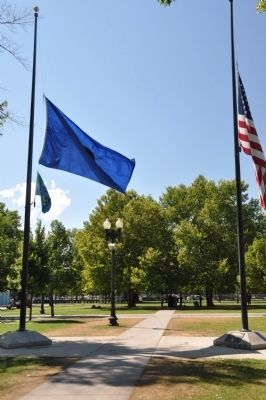 The Two Sesquicentennial Flagpoles image. Click for full size.
