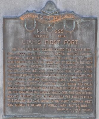 Utah's First Fort Marker image. Click for full size.