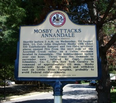 Mosby Attacks Annandale Marker image. Click for full size.