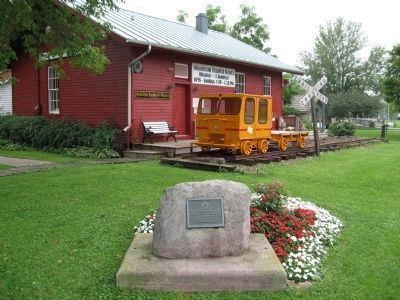 Plaque and Railroad Depot Museum image. Click for full size.