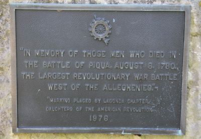In Memory of Those Men Who Died in the Battle of Piqua Marker image. Click for full size.