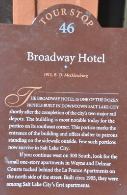 Broadway Hotel Marker image. Click for full size.