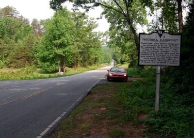 Frederick Hambright Marker -<br>Looking North Along Battlefield Drive image. Click for full size.