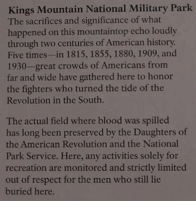 Kings Mountain National Military Park<br>Two Parks, One Mountain Marker image. Click for full size.