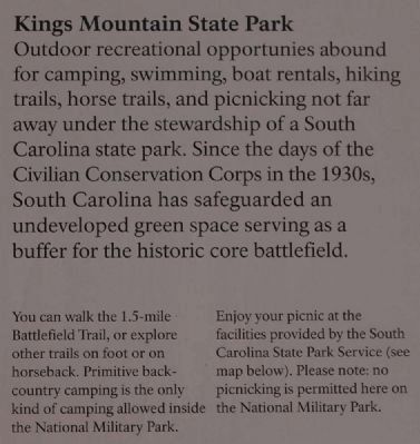 Kings Mountain State Park<br>Two Parks, One Mountain Marker image. Click for full size.