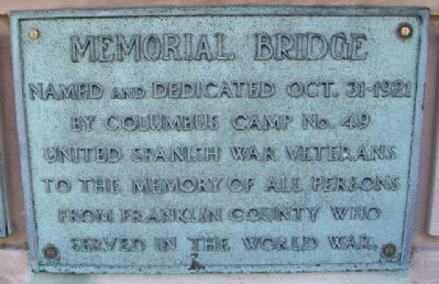 World War Memorial Bridge Marker image. Click for full size.