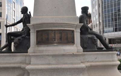 The rear of the Monument and the Plaque Listing the Names of the Members of the Pioneer Party. image. Click for full size.