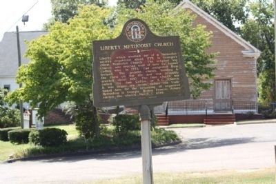Liberty Methodist Church and Marker image. Click for full size.
