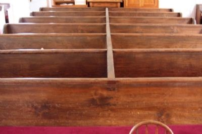 Liberty Methodist Church single board bench backs, a rarity today image. Click for full size.