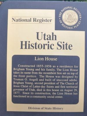 Lion House State and National Register Marker image. Click for full size.