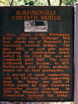 Bollinger Mill/Burfordville Covered Bridge Marker (other side) image. Click for full size.