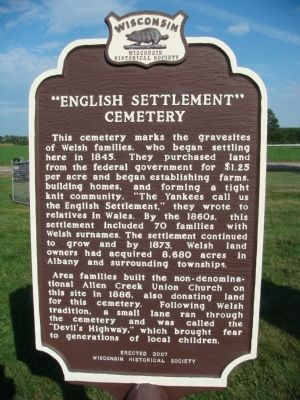 """English Settlement"" Cemetery Marker image. Click for full size."