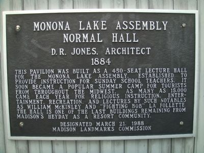 Monona Lake Assembly Normal Hall Marker image. Click for full size.