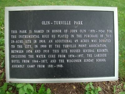 Olin-Turville Park Marker image. Click for full size.