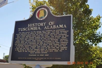 History of Tuscumbia Alabama Marker (side 1) image. Click for full size.