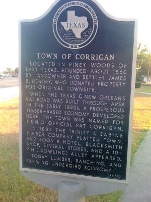 Town of Corrigan Marker image. Click for full size.