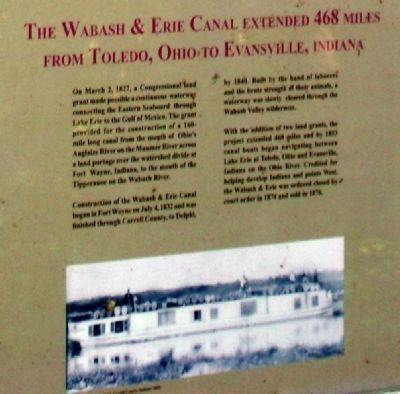 Lower Section - - The Wabash & Erie Canal Marker image. Click for full size.