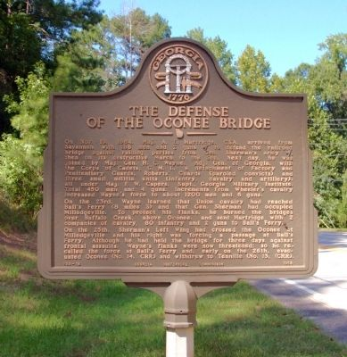 The Defense of the Oconee Bridge Marker image. Click for full size.