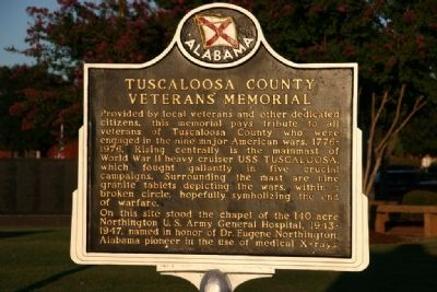Tuscaloosa County Veterans Memorial Marker image. Click for full size.