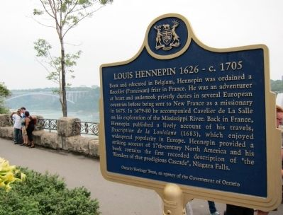 Louis Hennepin 1626 - c. 1705 Marker, in English image. Click for full size.