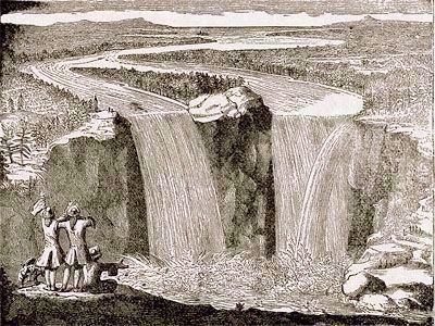 Engraving of Niagara Falls, by Louis Hennepin image. Click for full size.
